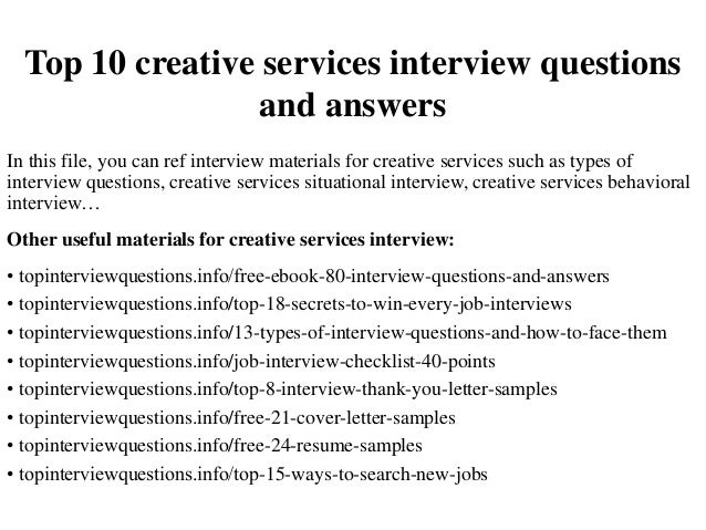 Top 10 Creative Services Interview Questions And Answers