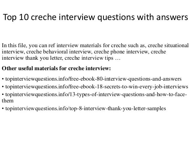 Top 10 Creche Interview Questions With Answers