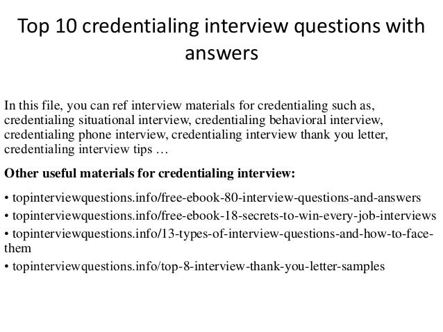 Top 10 Credentialing Interview Questions With Answers