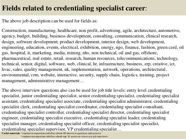 top 10 credentialing specialist interview questions and