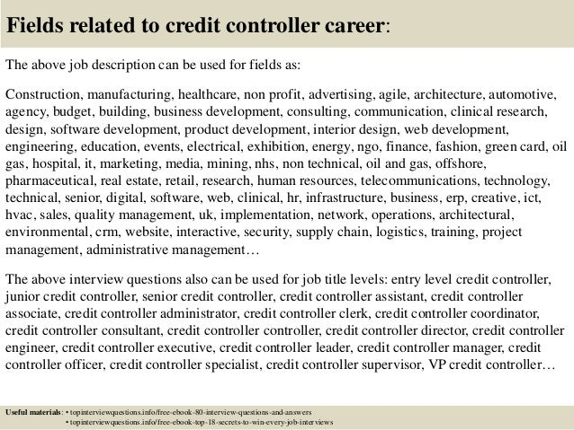 Top 10 credit controller interview questions and answers – Controller Job Description