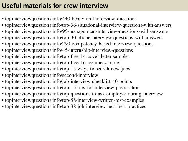 Top 10 Crew Interview Questions With Answers