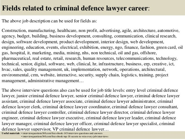 Top 10 criminal defence lawyer interview questions and answers – Lawyer Job Description