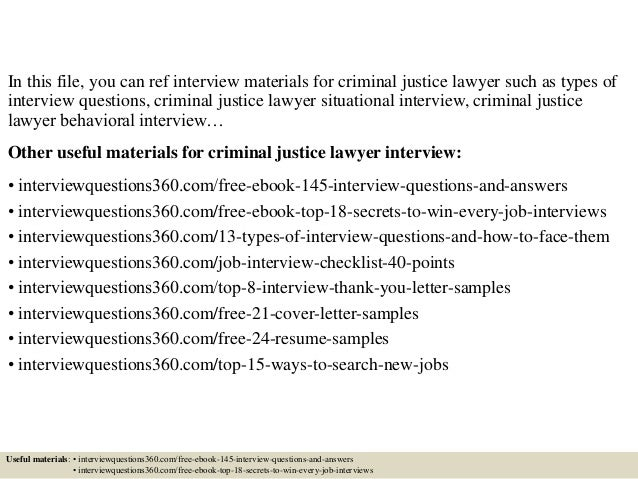 Top 10 Criminal Justice Lawyer Interview Questions And Answers