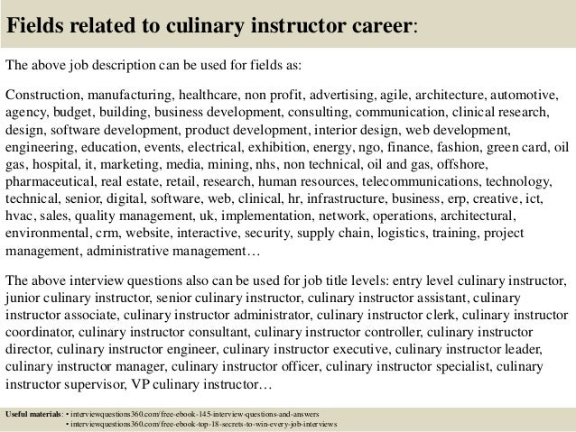 Top 10 culinary instructor interview questions and answers