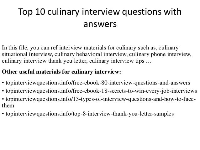 Exceptional Interview Questions Culinary Sample