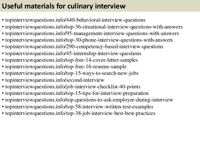 Useful Materials For Culinary Interview .