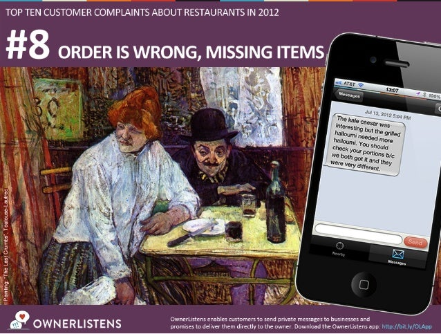 Top 10 Customer Complaints About Restaurants in 2012