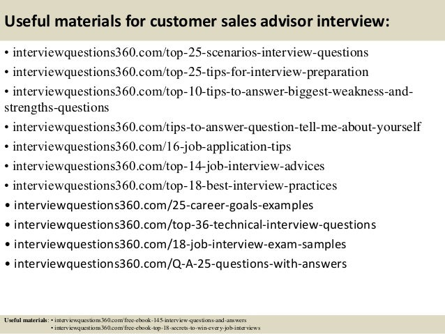 Top 10 customer sales advisor interview questions and answers