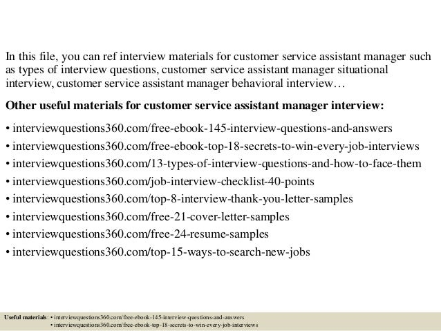 Top 10 Customer Service Assistant Manager Interview Questions And Answers Regard To Assistant Manager Interview Questions