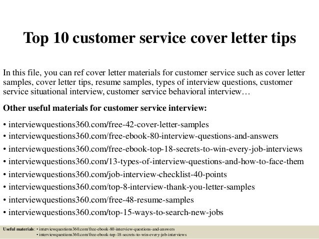 Top 10 customer service cover letter tips for Good cover letter examples for customer service