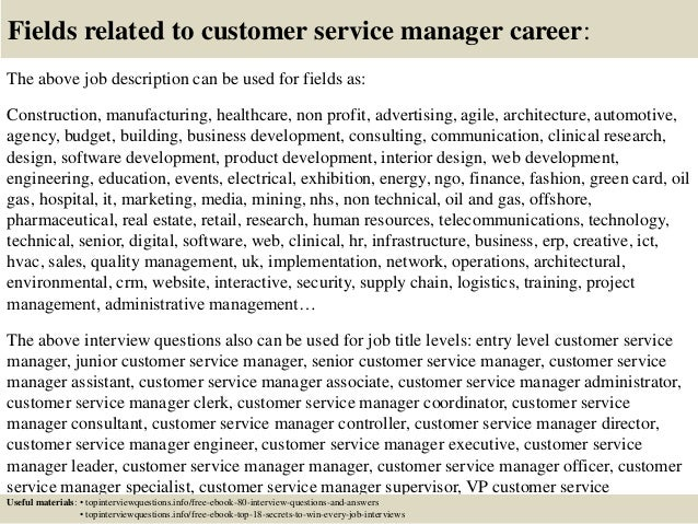 ... 17. Fields Related To Customer Service Manager Career: The Above Job  Description ...