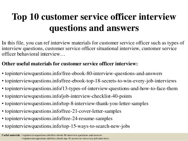 Top 10 Customer Service Officer Interview Questions And