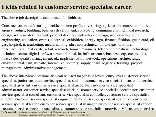 ... 17. Fields Related To Customer Service Specialist Career: The Above Job  Description ...