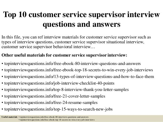 customer service supervisor description