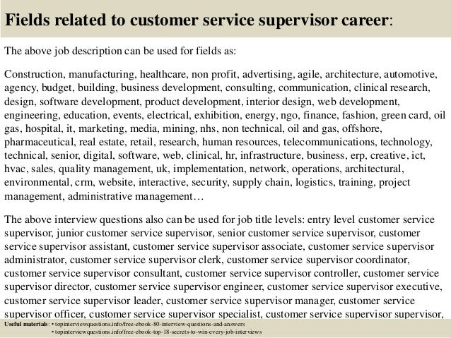 Customer Service Supervisor Job Description  LondaBritishcollegeCo