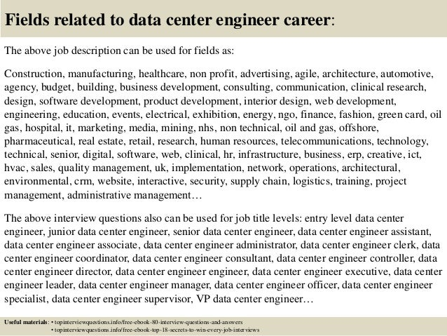 Top 10 data center engineer interview questions and answers