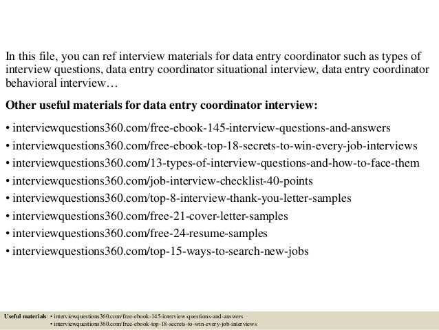 Top 10 Data Entry Coordinator Interview Questions And Answers