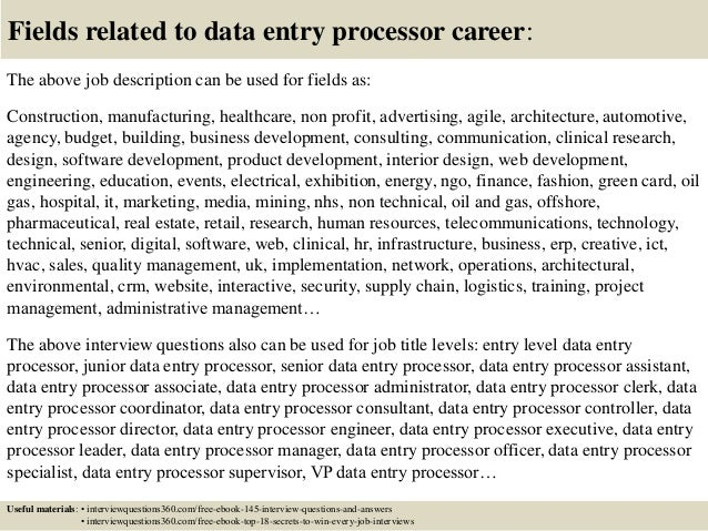 Top  Data Entry Processor Interview Questions And Answers