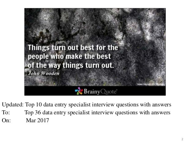 Top 36 Data Entry Specialist Interview Questions And Answers