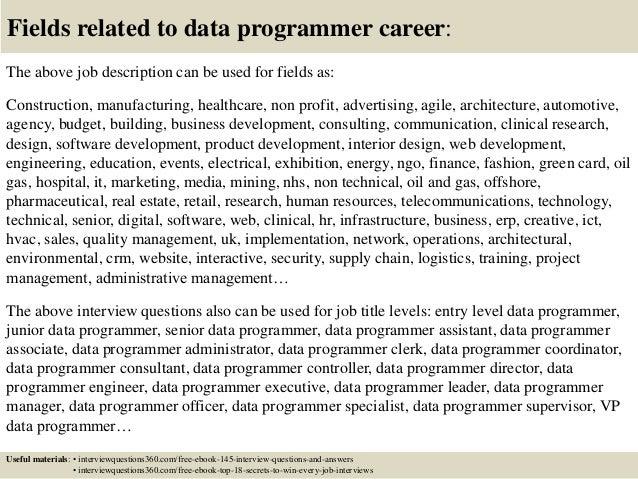 Senior Programmer Job Description  Resume Template Sample