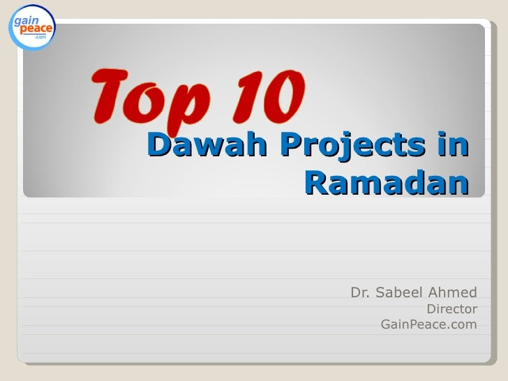 Top 10 Dawah/Outreach Projects in Ramadan