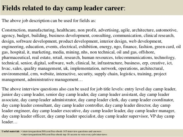 Top 10 day camp leader interview questions and answers