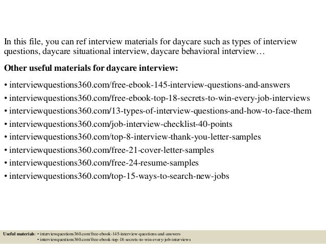 daycare interview questions