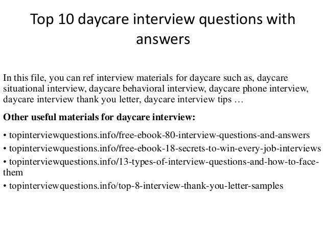 top 10 daycare interview questions with answers