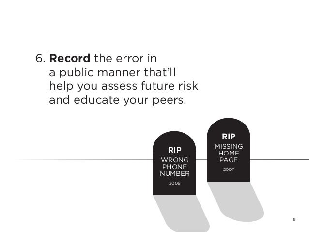 156. Record the error ina public manner that'llhelp you assess future riskand educate your peers.RIPWRONGPHONENUMBER2009RI...