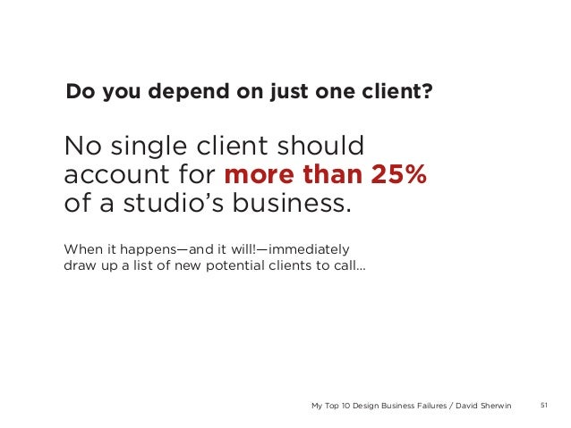 51My Top 10 Design Business Failures / David SherwinDo you depend on just one client?No single client shouldaccount for mo...