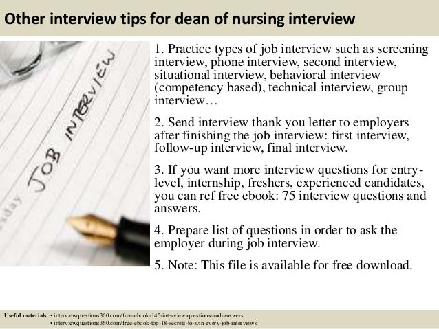 ... 17. Other Interview Tips For Dean Of Nursing ...