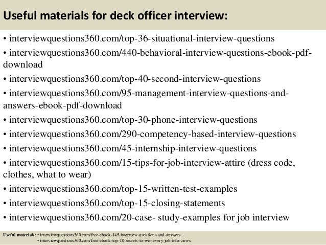 Top 10 deck officer interview questions and answers