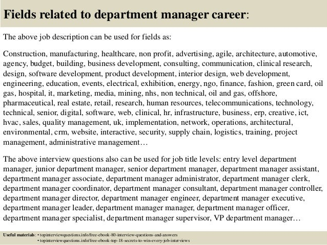 Top 10 department manager interview questions and answers