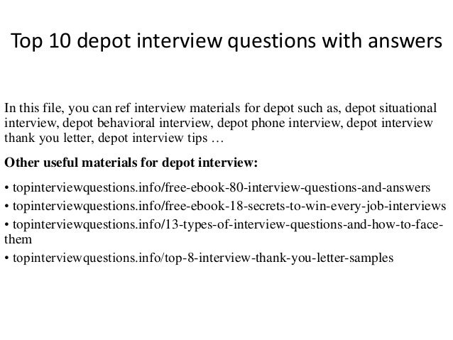 High Quality Home Depot Interview Questions