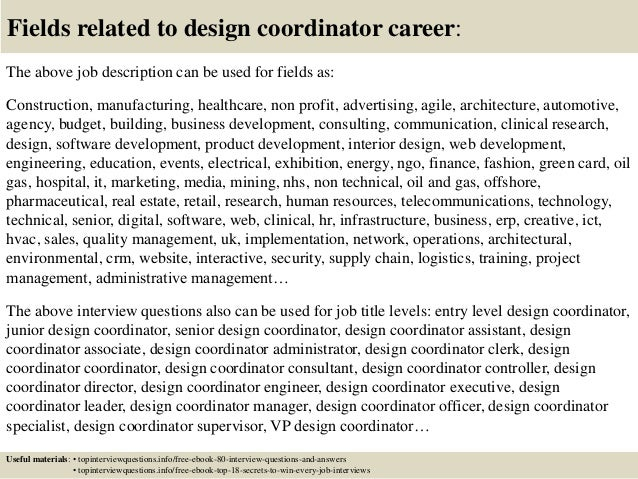 17 Fields Related To Design Coordinator