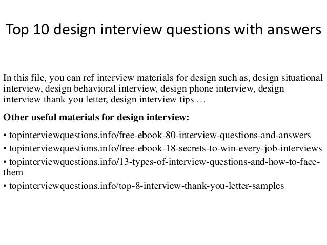 top 10 design interview questions with answers