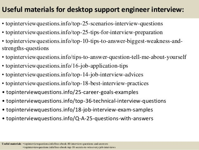 Top 10 desktop support engineer interview questions and answers