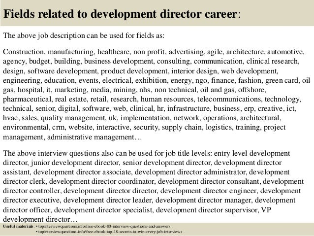 Top 10 development director interview questions and answers – Development Director Job Description