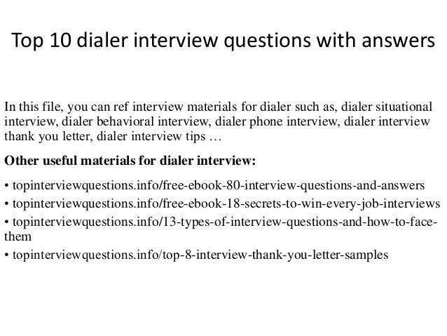 Top 10 dialer interview questions with answers