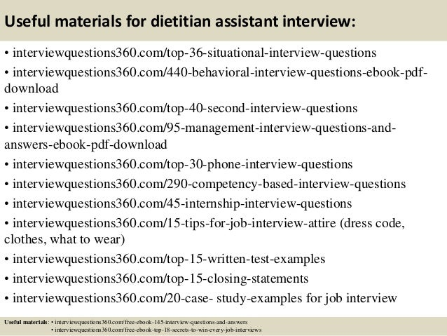 ... 13. Useful Materials For Dietitian Assistant ...