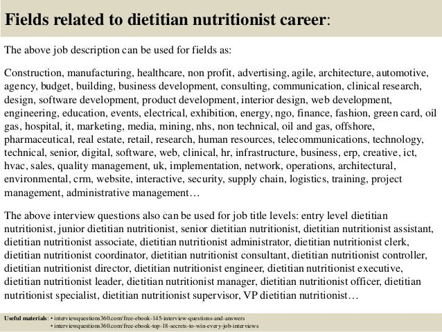 ... 18. Fields Related To Dietitian Nutritionist Career: The Above Job  Description ...