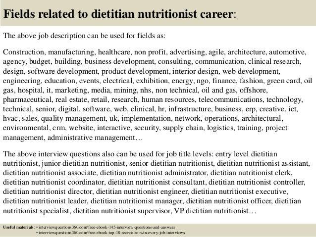 Dietitian Job Description  Resume Template Sample