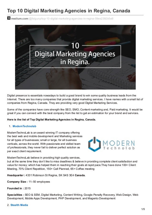 Top 10 Digital Marketing Agencies in Regina, Canada medium.com/@falgunp/top-10-digital-marketing-agencies-in-regina-59ee23...
