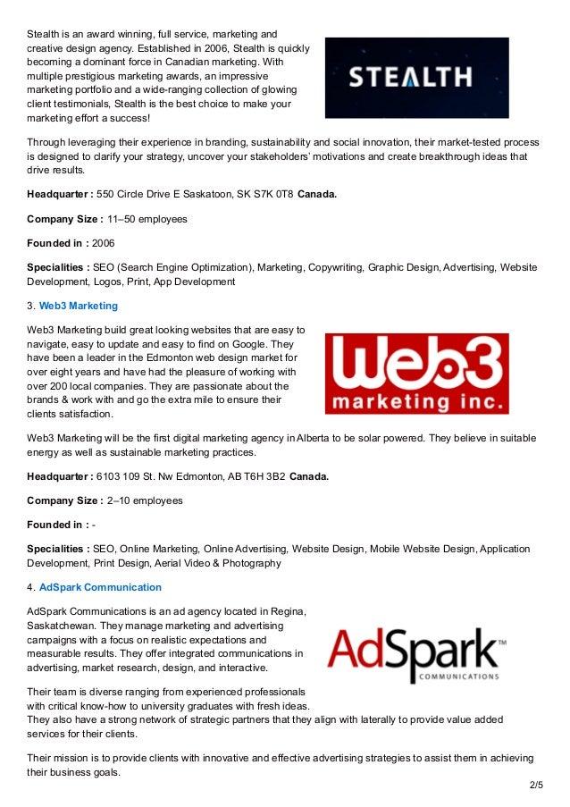 Top 10 Digital Marketing Agencies in Regina, Canada Slide 2
