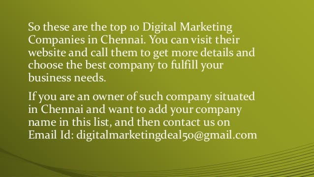 Top 10 digital marketing companies in chennai digital for Marketing to builders