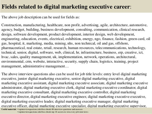 Top 10 digital marketing executive interview questions and answers – Digital Marketing Job Description