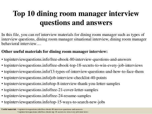 Dining Room Supervisor Job Description Topdiningroom Managerinterviewquestionsandanswersjpgcb