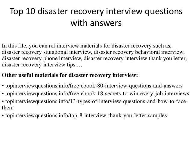 Top 10 Disaster Recovery Interview Questions With Answers In This File, You  Can Ref Interview ...