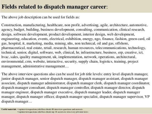Top 10 dispatch manager interview questions and answers